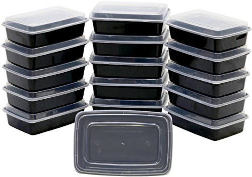 16 Pack - SimpleHouseware 1 Compartment Food Grade Meal Prep Storage Container Boxes, 28 Ounces 1 Compartment Container