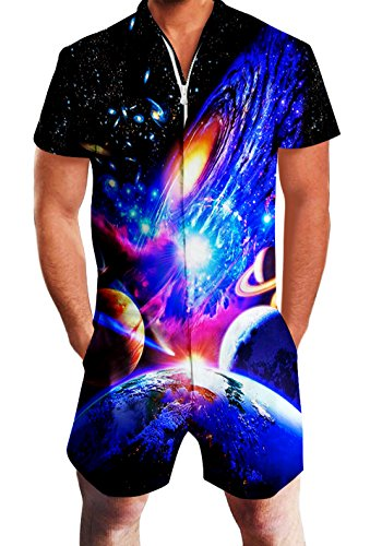 Adult Man One Piece Jumpsuits 3D Graphic Blue Galaxy Space Novelty Loose Fit Zipper Short Jersey Rompers Cozy Beach Playsuit Party Wear Overalls with Big Pockets for Teen V Neck Stylish Outfits -