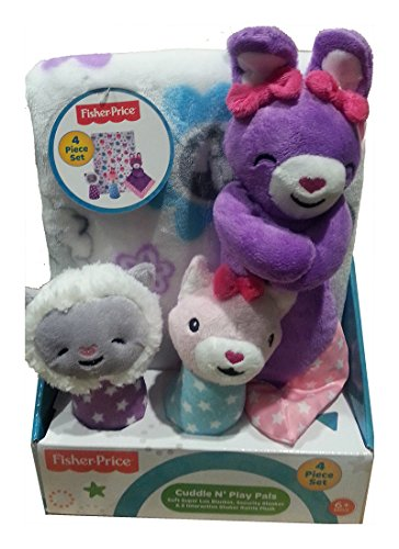 Fisher Price Cuddle N Play Pals - Bunny Rabbit, Fox & Lamb- 4 Piece Gift Set