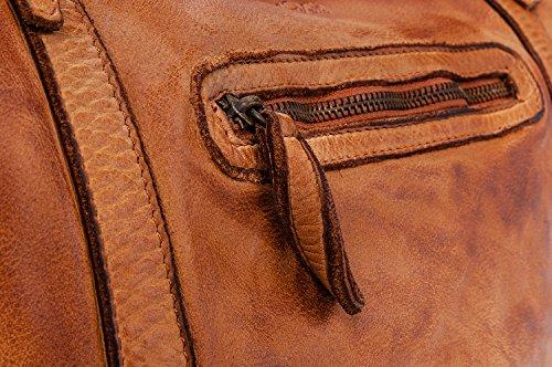Ira del Valle Borsa Donna, In Vera Pelle Vintage, Made in Italy, Modello Andalusia Bag, Borsa Grande a Mano e Spalla con Tracolla da Donna Ragazza Cognac