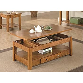 Amazon Com Logan Oak Lift Top Cocktail Table Kitchen