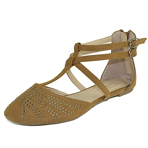 Dress Flat Embellished Strap T Shoes Womens Tan Sandals Casual Gladiator Tan 0xdSTqnZ