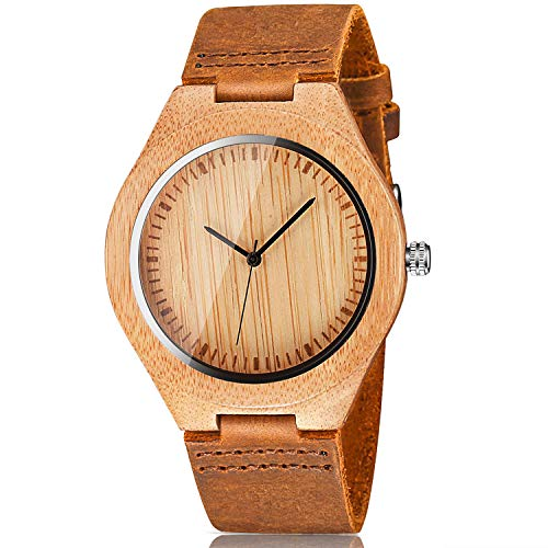 CUCOL Men's Bamboo Wooden Watch with Brown Cowhide Leather Strap Japanese Quartz Movement Casual Watches