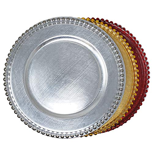 Beautiful Luxurious Round Glass Plastic Combo Dinnerware 13-Inch Charger Plates Beaded & Solid Wedding Christmas Anniversary Formal Service Dining Entertaining Home Party Decor Holiday(8, Silver)