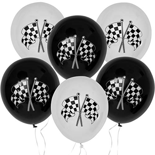 36 Count Race Car Latex Balloons Birthday Party Supplies Decorations Checkered Racing Cars Flag Theme Black & White 12 Inch by Gift Boutique for $<!--$9.95-->