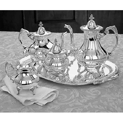 Reed & Barton Sheffield Collection Silver-plated Burgundy 5-Piece Tea Set Burgundy Silver Plated