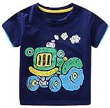 Generic Little Boy Short Sleeve Tractor Car Printed T-shirt Tee Shirt navy blue 6T