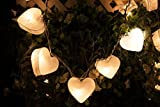 Battery AA LED 25 lights White heart Mulberry Paper Lantern String Light Kid Bedroom Light Display Garland Colorful