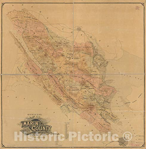 Historic 1892 Map   Official map of Marin County, California 44in x 44in