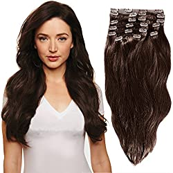 YONNA Remy Human Hair Clip in Extensions Medium Brown #4 Double Weft Long Soft Straight 10 Pieces Thick to Ends Full Head 24inch 220g