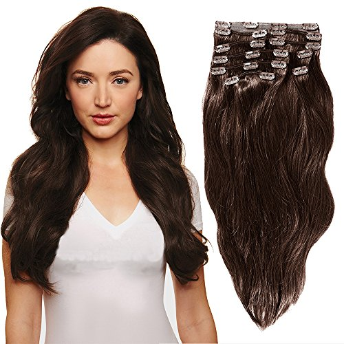 YONNA Remy Human Hair Clip in Extensions Medium Brown #4 Dou