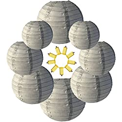 Neo LOONS Gray Round Chinese/Japanese Paper Lanterns Metal Framed Hanging Lanterns with Warm White LED lights-- Assorted Sizes--Birthday/Wedding/Party Supplies Favors Hanging Decoration