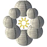 Neo LOONS Gray Round Chinese/Japanese Paper Lanterns Metal Framed Hanging Lanterns-- Assorted Sizes--Birthday/Wedding/Christmas/Ceiling Party Supplies Favors Hanging Decoration