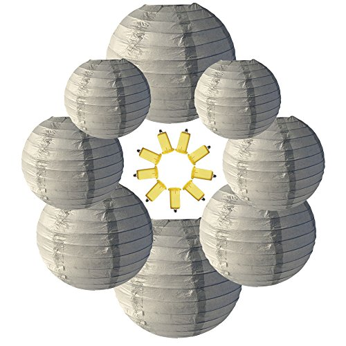Neo LOONS Gray Round Chinese/Japanese Paper Lanterns Metal Framed Hanging Lanterns-- Assorted Sizes--Birthday/Wedding/Christmas/Ceiling Party Supplies Favors Hanging Decoration by NEO LOONS