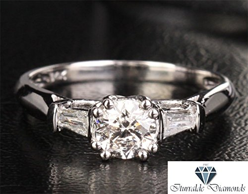 14k Moissanite Engagement Ring Diamond Baguette Accents