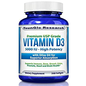 Vitamin D3 5000 IU - In Non GMO Organic Olive Oil - Powerful Health Benefits - 360 Softgels