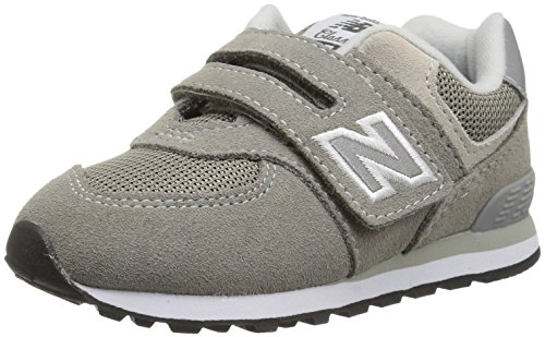 (New Balance Boys' 574v1 Essentials Hook and Loop Sneaker,  Grey/Grey, 1 M US Little Kid)