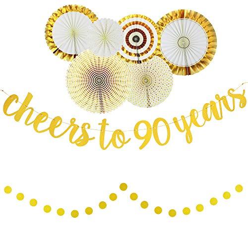 90th Birthday Glittery Gold Decorating Set