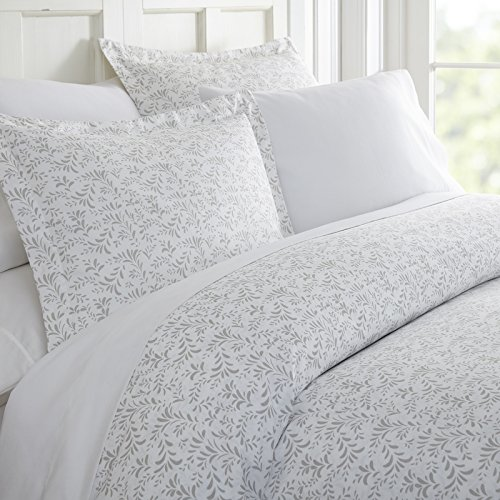 Simply Soft Ultra Soft Burst of Vines Patterned 3 Piece Duvet Cover Set, King, Light Gray (Patterned Duvet Cover)