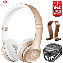 Beats By Dre Solo2 Wireless On-Ear Headphones MKLD2ZM/A - Gold (Certified Refurbished) + HardBody PRO Full Sized Headphone Case + Wood Headphone Stand with 1 Year Extended Warranty Pack