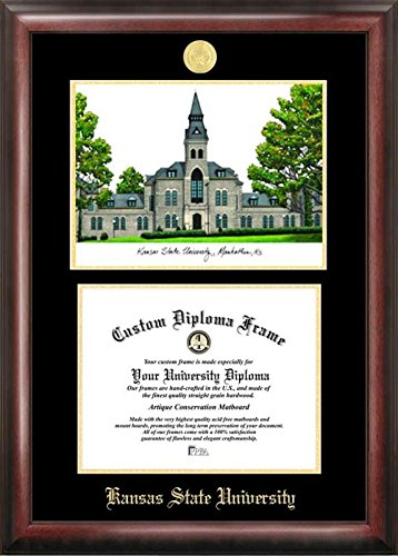 Campus Images KS998LGED Kansas State University Embossed Diploma Frame with Lithograph Print, 8.5