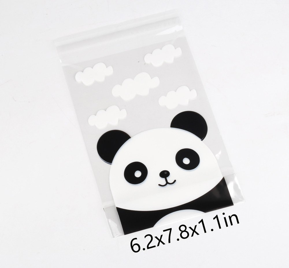 YEHAM 100 pcs Self-adhesive Cute Panda Head Packaging Bags Use for Party Cookie and Candy Packaging Bags (6.2 x 7.8 In) by YEHAM