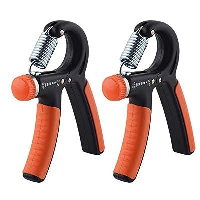 Kootek 2 Pack Hand Grip Strengthener Strength Trainer Adjustable Resistance 22-88 Lbs Arm Hand Exerciser Non-slip Gripper for Athletes Pianists Kids from Kootek