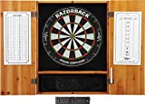 Viper Metropolitan Solid Wood Cabinet & Sisal/Bristle Dartboard Ready-to-Play Bundle: Elite Set (Razorback Dartboard, Darts and Laser Throw Line), Oak Finish