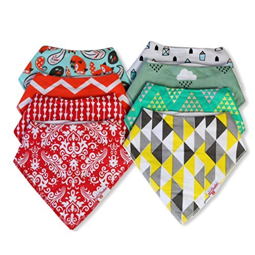 Premium Set Of 8 Baby Bandana Bibs For Boys & Girls By Lil Droolers – Ideal For Drooling & Teething Babies – Perfect Unisex Baby Shower Gift