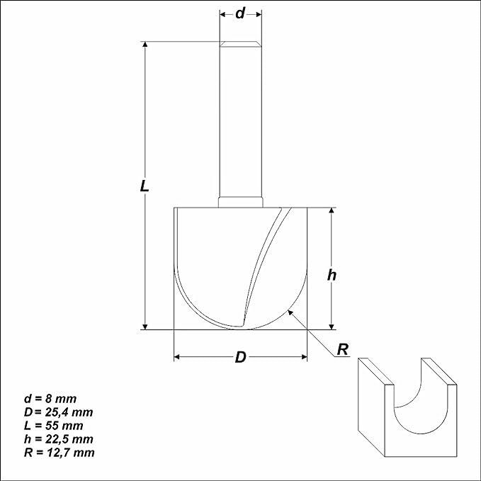 HM Radienfräser Viertelstabfräser 8mm Schaft Nr.20