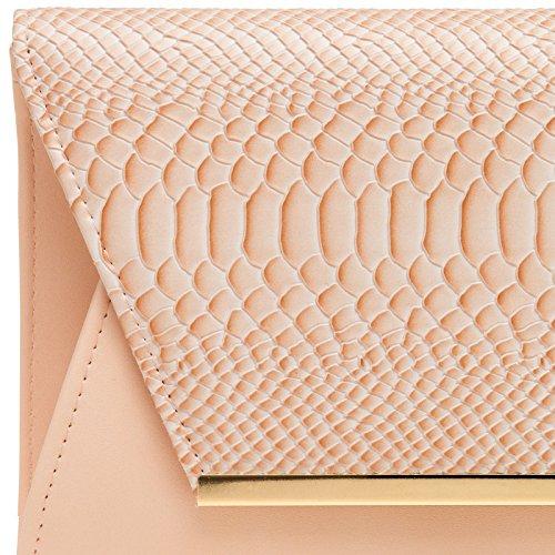 CASPAR with TA386 Clutch Evening Envelope Bag Print Rose Ladies Croc Faux Large SwS10Oxqr