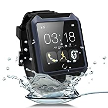 """Efanr® 2015 Intelligent Sports Outdoor U Watch IP68 Waterproof Shockproof Dustproof Bluetooth 4.0 Watch Sport Smartwatch 1.6"""" Touch Screen Wristwatch for IOS Apple iPhone 6 Plus 5s/5c/5/4s Android Samsung S6 S5 S4 Note 4/3 Sony Xperia Z3/Z2,HTC ONE M8 and Other Android Smartphones -Call Sync/Alarm Clock/Stopwatch/Sleep Monitor/Podemeter/Anti-lost/E-compass/MSM Sync (Blue)"""