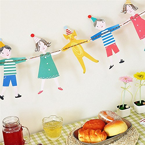 hulisen漫画図Hanging Paper GirlsバナーBunting Garland Xmasベビー誕生日イベントウェディングパーティー装飾   B01E3ZY382