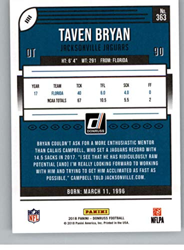 Amazon.com  2018 Donruss Football  363 Taven Bryan RC Rookie Card  Jacksonville Jaguars Rookie Official NFL Trading Card  Collectibles   Fine  Art 89ae583c1