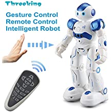 Smart Robot Toys Threeking Gesture Control Remote Control Robot JJRC Robot Gift for Boys Girls Kid's Companion:Game Fun Learning Music Dance Etc.Rechargeable Rc Robot Kit - Blue