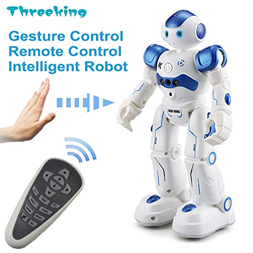 Threeking Smart Robot Toys Gesture Control Remote Control Robot JJRC Robot Gift for Boys Girls Kid's Companion:Game Fun Learning Music Dance Etc.Rechargeable Rc Robot Kit(Male Voice) - Blue
