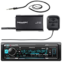 Kenwood Marine Boat Yacht Bluetooth USB AUX Audio Stereo Receiver Bundle Combo with SiriusXM SXV300v1 Satellite Radio Tuner Kit, Enrock 22 AM/FM Radio Antenna