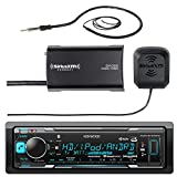Kenwood Marine Boat Yacht Bluetooth USB AUX Audio Stereo Receiver Bundle Combo with SiriusXM SXV300v1 Satellite Radio Tuner Kit, Enrock 22'' AM/FM Radio Antenna