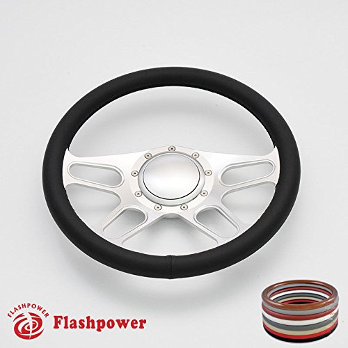 Flashpower 14'' Trickster Billet Banjo Full Wrap Steering Wheel with 9 Bolts 2'' Dish and Horn Button (Billet Steering Wheel Horn Buttons)