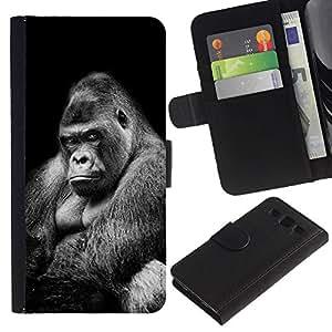 WonderWall (No Para S3 Mini) Fondo De Pantalla Imagen Diseño Cuero Voltear Ranura Tarjeta Funda Carcasa Cover Skin Case Tapa Para Samsung Galaxy S3 III I9300 - gran gran gorila negro significado blanco