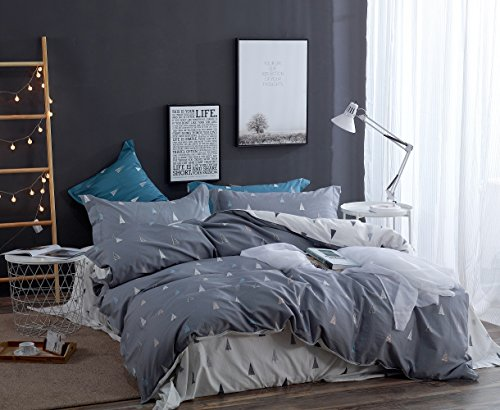 4 Piece Simple Geometric Cotton Duvet Cover Set European Sty