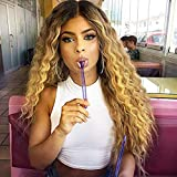 MISSQUEEN Ombre Blonde 2 Tones Synthetic Kinky Curly Wavy Fluffy Wig Dark Roots Long Natural Replacement Hair Full Wigs for Black Women