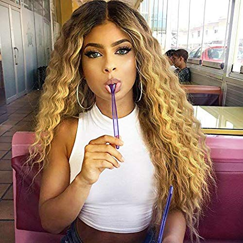 MISSQUEEN Ombre Blonde 2 Tones Synthetic Kinky Curly Wavy Fluffy Wig Dark Roots Long Natural Replacement Hair Full Wigs for Black Women -