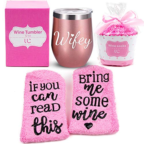 Wifey Gift Set | Stainless Steel 12 oz Wine Tumbler + Cupcake Wine Socks | Double Insulated Stemless Wine Tumbler with Lid and Funny Socks | Wife Gifts, Bridal Shower Gifts (Rose Gold) (Wifey Shower)
