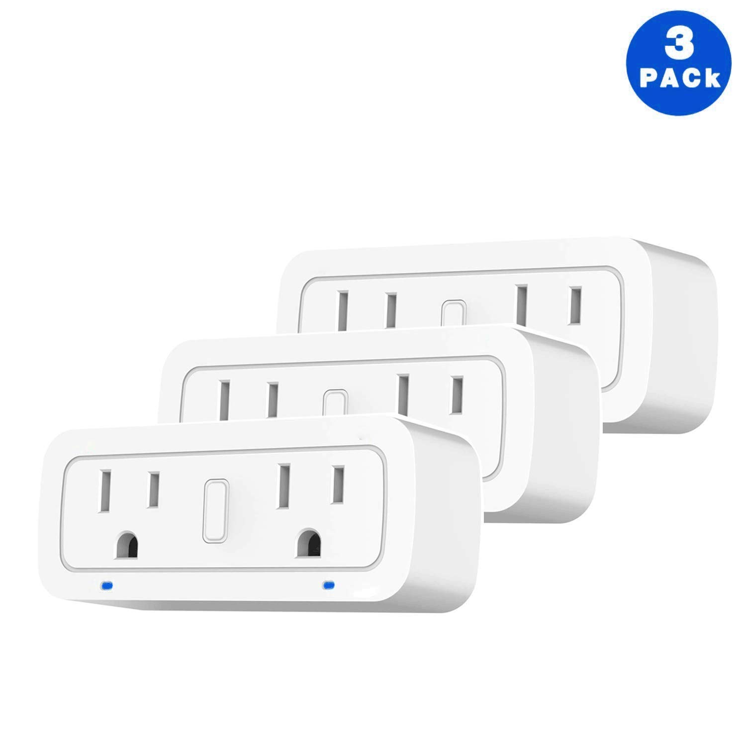 BRTLX WiFi Smart Plug Socket Works with Alexa Echo/Google Home/IFTTT,Dual Mini Outlets with Energy Monitoring and Timer, No Hub Required, Controlled Devices from Anywhere, 2 Years Warranty,3 Packs