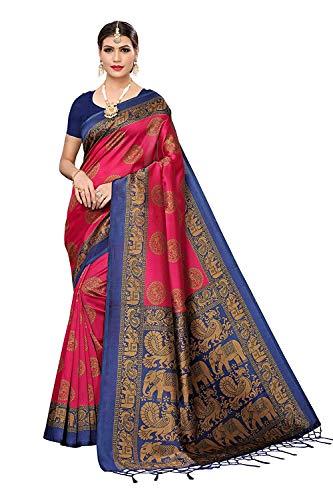 shreeoverseas Women's Mysore Silk Saree Indian Ethnic Wedding Traditional Wear Sundaram-Pink Sari with Blouse Piece
