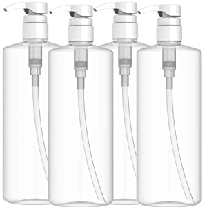 EZPRO USA Empty Shampoo Pump Bottles 32 oz BPA Free, PET Plastic Cylinder Refillable Bottle Springless Pump - for Lotions, Soaps, Oils, Sauces, DIY Laundry Detergent, Pack of 4