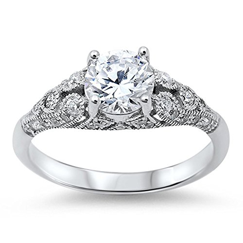Women's Vintage Wedding Clear CZ Promise Ring New 925 Sterling Silver Size 9
