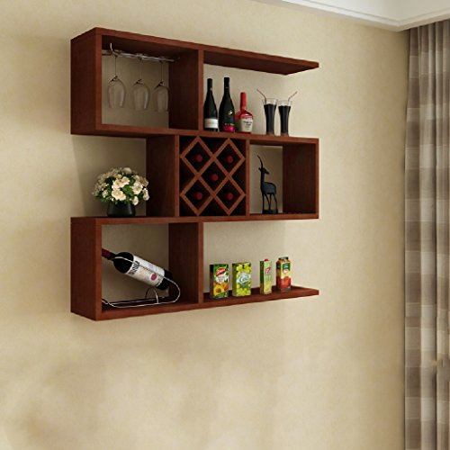 Wall Shelf Living Room Wall Storage Tower House Wine Rack Wine Rack10023100cm ( Color : Teak (Teak Trolley)