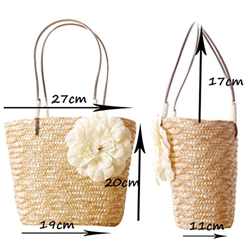 Straw Tote Shoulder 1 YOUJIA Handbag Handbags Women Flower Casual Green Woven Beach w1q0EHq6O